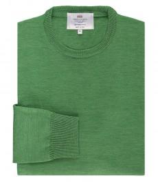 Мужской джемпер, зеленый, приталенный, мериносовая шерсть