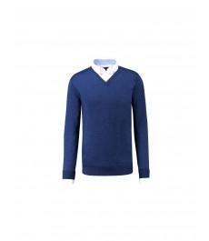 Мужской голубой джемпер из мериносовой шерсти - приталенный