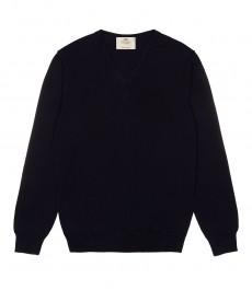 Мужской приталенный джемпер, темно-синий, мериносовая шерсть, V-образный вырез