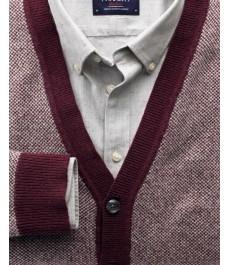 Мужской кардиган Charles Tyrwhitt винного цвета, джакардовая текстура, из мериносовой шерсти