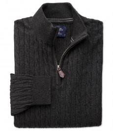 Тёмно-серый джемпер Charles Tyrwhitt из хлопка с добавлением кашемира, воротник на молнии
