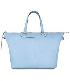 Женская кожаная сумка, цвет голубой