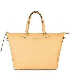 Женская сумка, цвет шампань, кожа