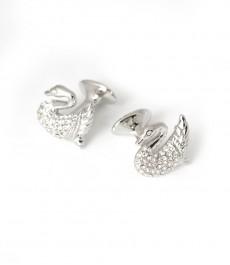 Женские серебряные запонки- лебедь с камушками под бриллианты