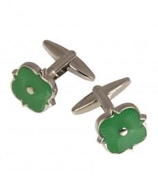 Женские эмалированные запонки зелёного цвета