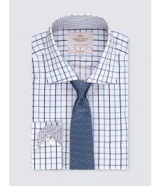 Мужская офисная классическая рубашка, тёмно-синяя с голубым частая клетка - с карманом - легко гладится