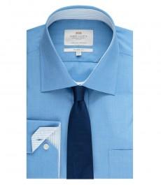 Мужская рубашка, голубая, классического кроя с контрастыми деталями - манжеты на пуговицах - легко гладится