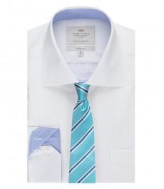 Мужская рубашка, белая, классического кроя с контрастными деталями - манжеты на пуговицах - легко гладится