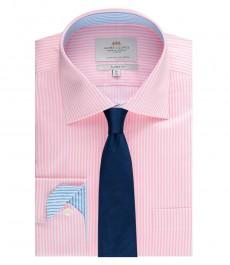 Мужская рубашка, классического кроя, розовая в белую бенгальскую полоску - мпнжеты на пуговицах - легко глядится