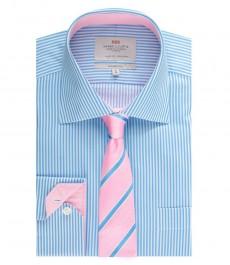 Мужская рубашка, классического прямого кроя, голубая в белую бенгальскую полоску - манжеты на пуговицах - легко гладится