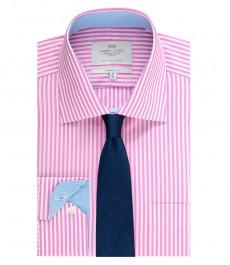 Мужская рубашка, классический прямой крой, фуксия в белую бенгальскую полоску - манжеты на пуговицах - легко гладится