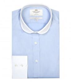 Мужская экстра приталенная гладкотканная рубашка голубого цвета ограниченной серии с контрастным закруглённым воротником