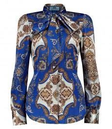 Женская приталенная рубашка, голубая с кремовым пейсли - завязывающийся шарф