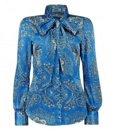 Женская приталенная рубашка, ярко-голубая, пейсли, сатин - шейный шарф