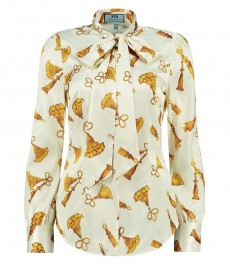 Женская рубашка, кремовая в золотой принт, сатин - шейный шарф