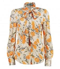 Женская приталенная рубашка, кремовая в оранжевый цветочный принт, сатин - воротник - бант
