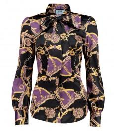 Женская приталенная рубашка, фиолетовая в черный принт, сатин - воротник завязывается