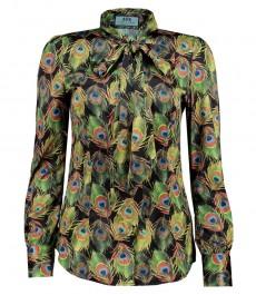 Женская приталенная рубашка, зеленая в принт, оранжевые перья, сатин - воротник завязывается