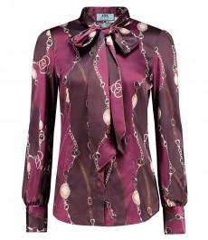 Женская приталенная рубашка, бургундия финсбери, цветочный принт, сатин - воротник шарф