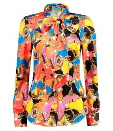 Женская приталенная рубашка, красная в голубой дизайн, сатин - воротник бабочка, завязывающийся