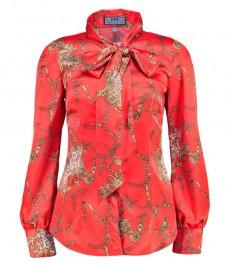 Женская приталенная рубашка, коралловая, дизайн коричневые цепи - воротник-шарф
