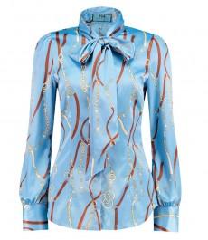 Женская приталенная рубашка, светло-голубая, дизайн желтые цепи - воротник - шарф