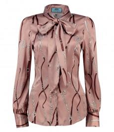 Женская приталенная рубашка, коричневая, бежевые цепи, сатин - воротник-шарф