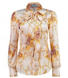 Женская приталенная рубашка, кремовая, дизайн золотые цепи, сатин - воротник-шарф