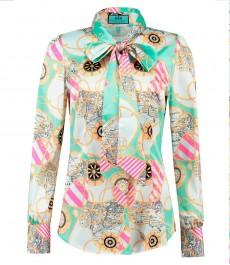 Женская приталенная рубашка, бирюзовая, принт фуксия, сатин - воротник - шарф