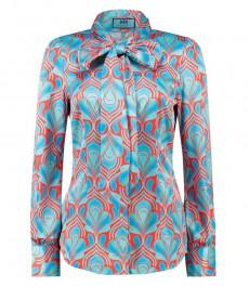 Женская приталенная рубашка, красная, дизайн ретро голубой, сатин - воротник - шарф