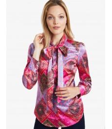 Женская приталенная рубашка, розовая, сатин - Воротник-шарф