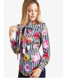 Женская приталенная рубашка, цветочный принт, сатин - воротник шарф