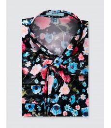 Женская приталенная английская рубашка, атласная, принт с Фламинго, рукав под пуговицу