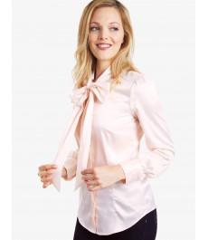 Женская однотонная атласная блузка, цвет кремовый, приталенная - шейный шарф