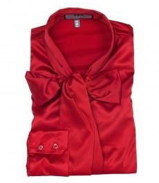 Женская красная приталенная превосходная атласная блузка - воротник бабочка