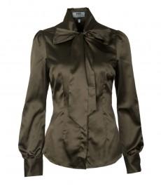 Женская однотонная блузка, цвет хаки-приталенная, шейный шарф.