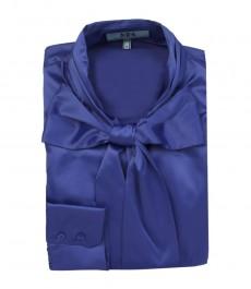 Женская однотонная блузка, цвет темно-синий, приталенная, шейный шарф, сатин.