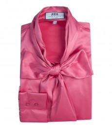 Женская однотонная атласная блузка, цвет розовый, приталенная - шейный шарф