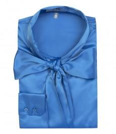Женская однотонная блузка, цвета голубой астры, сатин-шейный шарф.