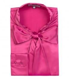Женская однотонная атласная блузка, цвет фуксия, приталенная - шейный шарф