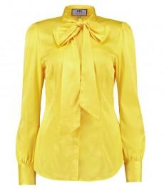 Женская желтая сатиновая блузка, приталенная - воротник шарф