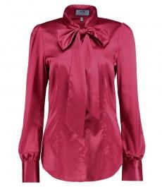 Женская приталенная рубашка, темно-розовая, сатин - воротник бант