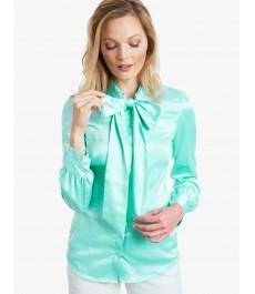 Женская приталенная рубашка, цвет морской волны, сатин -  Воротник - шарф