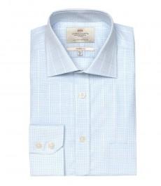 Мужская классическая рубашка Ludlow, цвет белый с голубой мелкой клеткой, с карманом, одиночная манжета