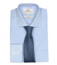 Классическая мужская рубашка Ludlow, белая и светло-голубая мелкая клетка, с карманом