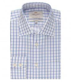 Мужская классическая белая с голубым рубашка в частую клетку - с карманом