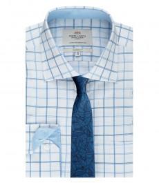 Мужская рубашка, классического кроя, белая в голубую крупную клетку с карманом - манжеты на пуговицах
