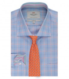 Мужская голубая рубашка в оранжевую клетку с карманом - манжеты на пуговицах - легко гладится