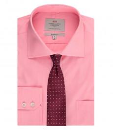 Мужская персиковая классическая рубашка с карманом, ткань в тонкую полоску - лёгкая в глажке