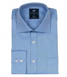 Мужская классическая рубашка с карманом, голубая, узор ёлочка - Манжеты на пуговицах - Легко гладится